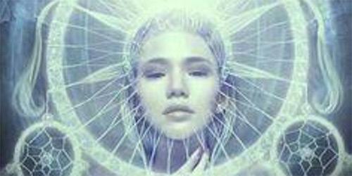mystical girl seen through dream catcher