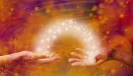 hands exchange magical energy